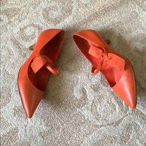 Tory Burch Orange Kitten Heel Side Bow Point Shoes